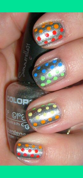 we at @pinkpackage love these Rainbow Polka Dots nails!