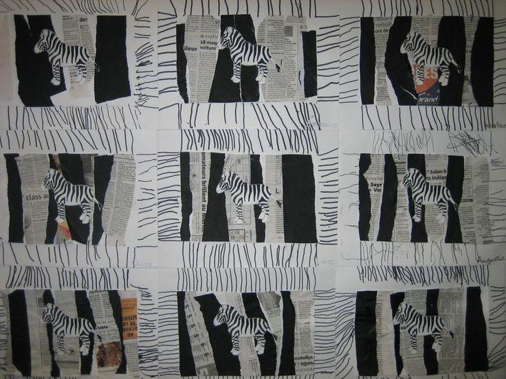 Les zèbres PS ( déchirer et coller des bandes de papier affiche noir et papier journal, les coller en alternance. L'Atsem colle le petit zèbre. Graphisme autour de la production: tracer des traits)