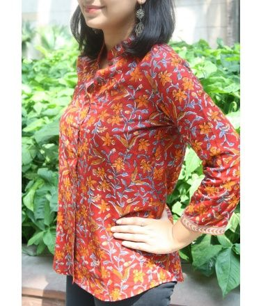 Red Floral Block Printed Cotton Top