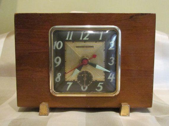Vintage 1930s Alarm Clock United Clock Company Craftsman Art Deco Solid Mahogany Wood Clock Working Clock Very Good Original Condition
