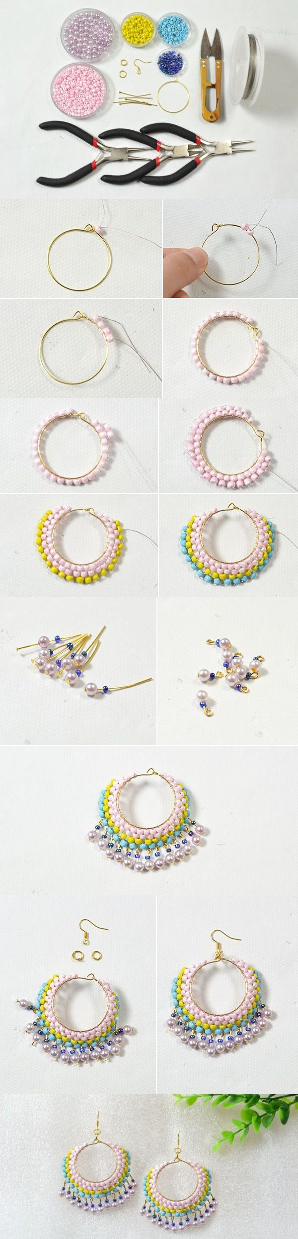 Easy Earring Design for Green Hands – Making Beaded Multi Color Hoop Earrings At Home from LC.Pandahall.com
