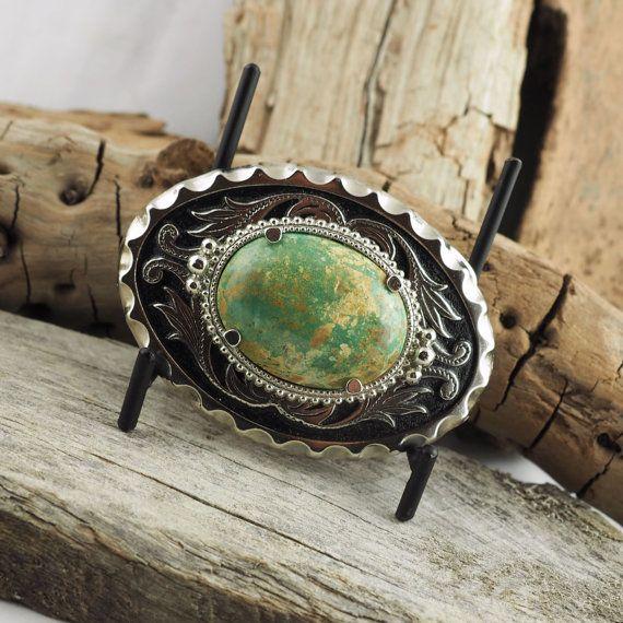 Boucle de ceinture Western boucle de ceinture Boho - boucle de ceinture Turquoise - - fermoir et boucle de ceinture noire avec une Pierre Turquoise véritable           2.1/2 X 3.1/2
