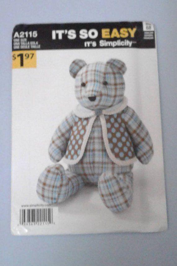Simplicity A2115 The Original Memory Bear Sewing
