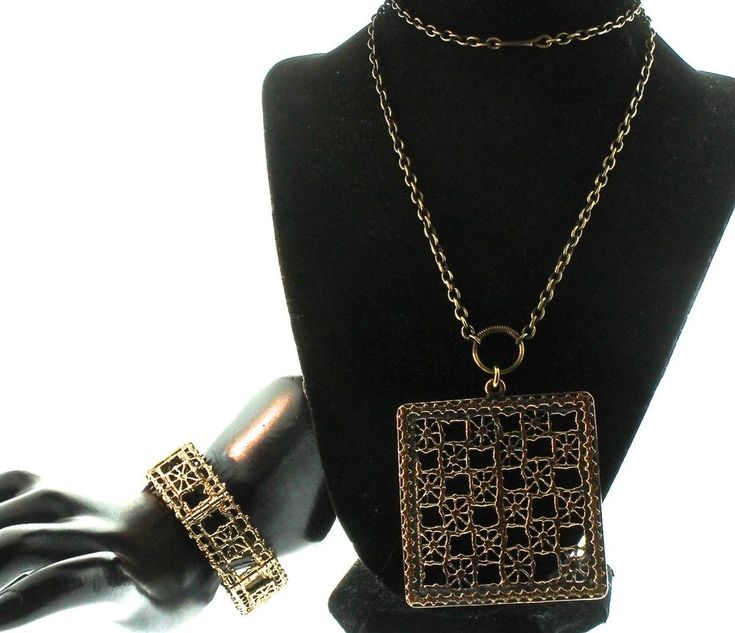 Pentti SARPANEVA Finland Mid-Century Modernist Bronze Pitsi Necklace & Bracelet  #PenttiSarpaneva