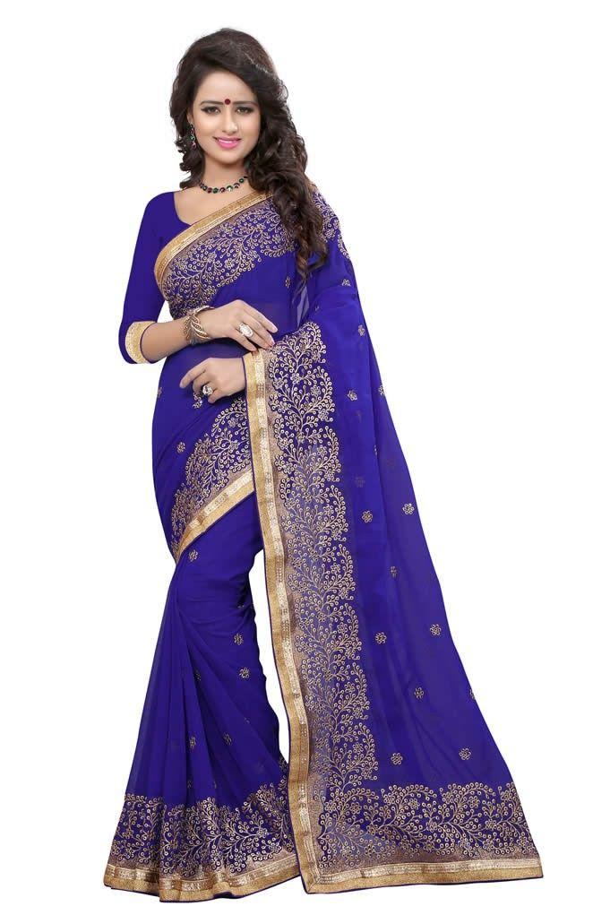 buy saree online Royal Blue Colour Georgette Heavy Embroidery Jari Work Saree…