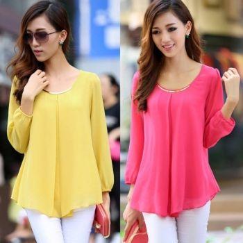 Hotsale New Fashion Women's Loose Chiffon Tops Long Sleeve Shirt Casual Blouse