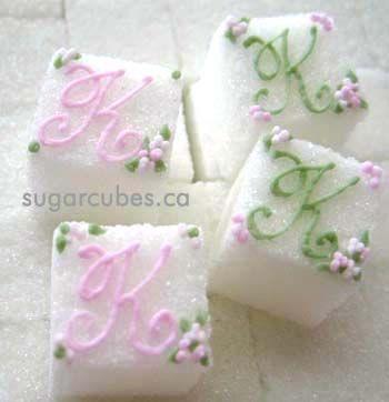 Classic and Elegant Monogrammed Decorated Sugar Cubes