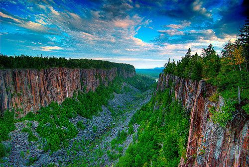 Ouimet Canyon, is a large gorge in the municipality of Dorion, Thunder Bay District in northwestern Ontario, Canada, about 60 kilometres northeast of the city of Thunder Bay.