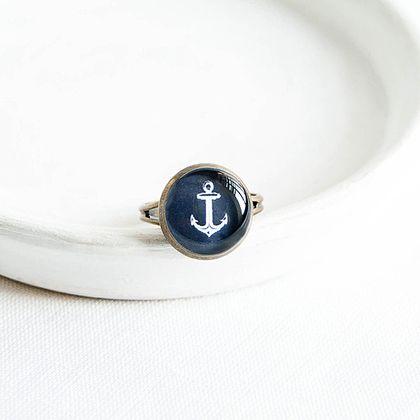 """Кольцо """"Якорь"""" в бронзовой оправе - тёмно-синий,якорь,морской стиль,летнее украшение"""