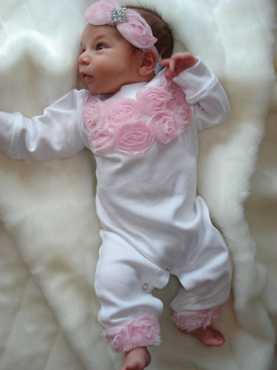 White Baby Girl Romper Set Infant One Piece Set by MyLolliflopsLLC