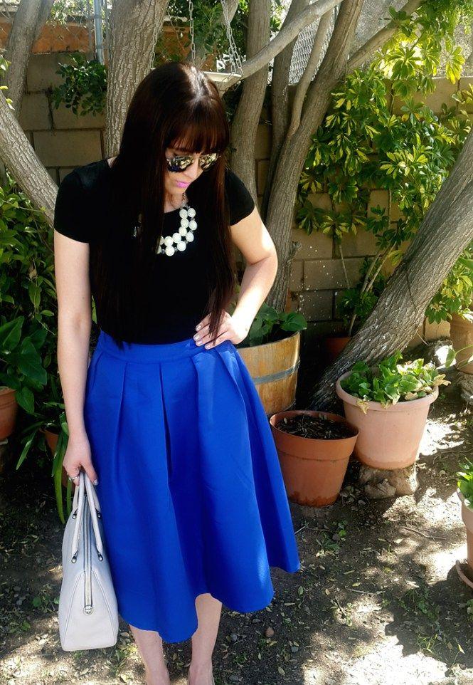 Cobalt Blue Full Midi Skirt Outfit #midiskirt #fullskirt #tallgirlsfashion
