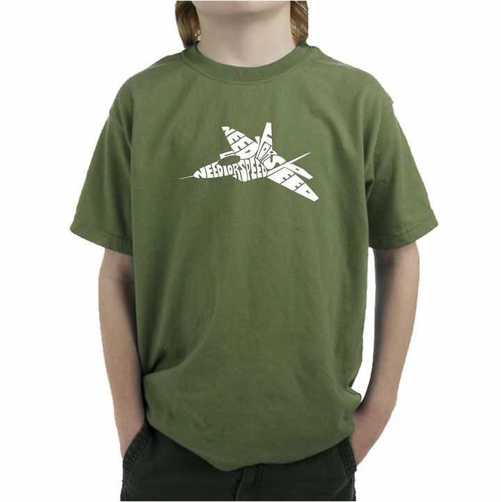 LOS ANGELES POP ART Los Angeles Pop Art Fighter Jet Using Words Need For Speed Graphic Boys T-Shirt