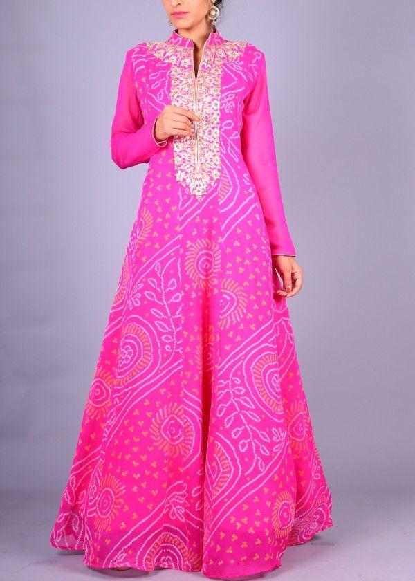 Pink Georgette Anarkali | VAS19051642 | Vasansi Jaipur