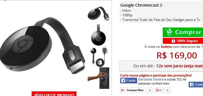 Google Chromecast 2 << R$ 16900 >>