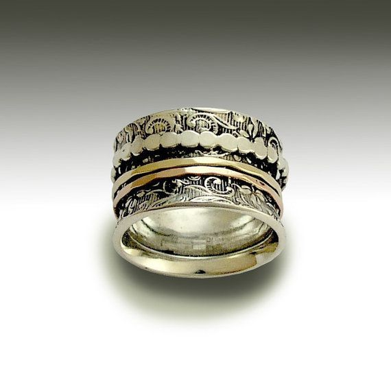 Gold Spinners silver band, Wide Sterling silver ring, Unisex woodland band, filigree ring, Vintage silver and gold ring, spinner ring Sale
