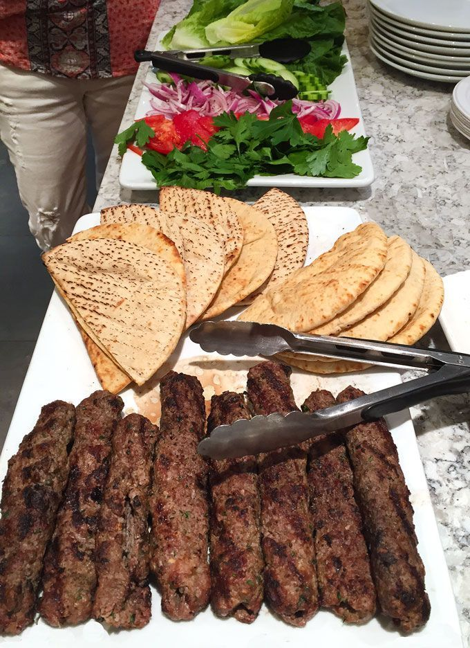 Turkish Kafta Kebabs and accompaniments
