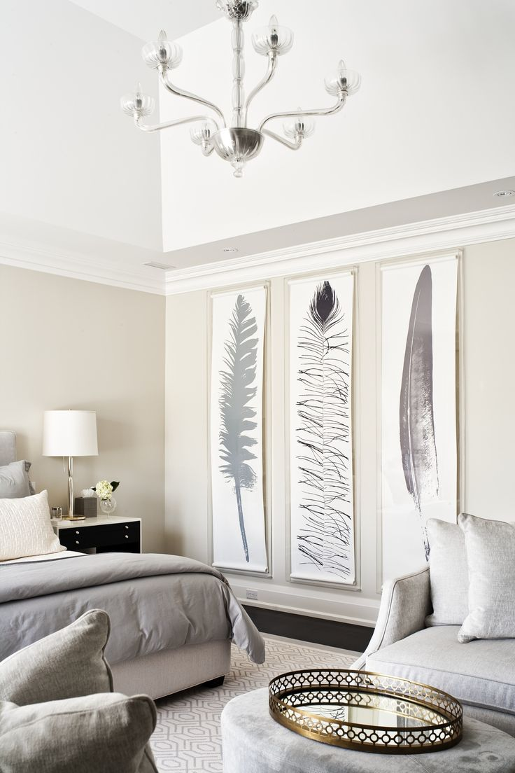 neutral bedroom, large scale feather art