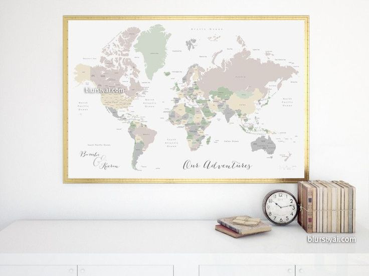 Custom Quote World Map With Countries And Us States Labeled Color Combo Anouk
