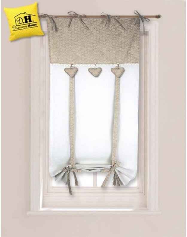 Tenda finestra angelica home country collezione cuoricini 60 x 160 cm decorazione e design - Tende per piccole finestre ...