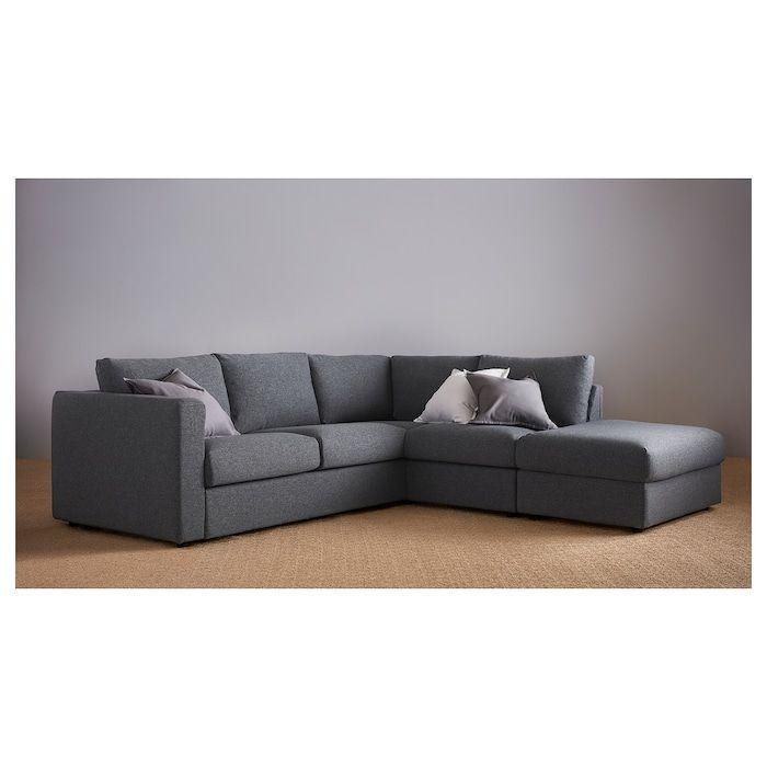 Vimle Canape D Angle 4 Places Sans Accoudoir Gunnared Gris Moyen Ikea Canape Angle Canape Lit Angle Ikea