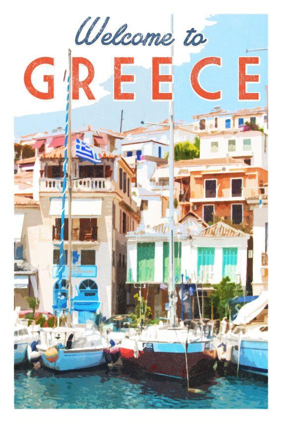 Greece print. Greece poster. Greece travel poster. Greek islands. Wall art print. Menton poster. Santorini Mykonos Poros yachts.