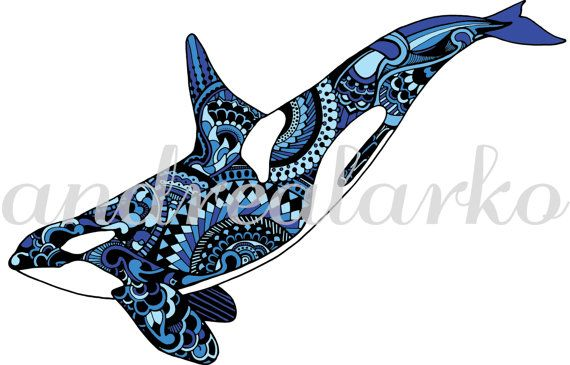 Limited Edition Orca Zentangle Art Print 8.5x11 by andrealarko