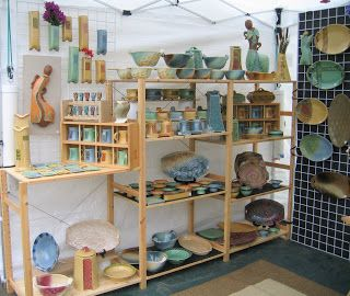 Creative with clay: Pottery by Charan Sachar: Edmonds Arts Festival Booth setup