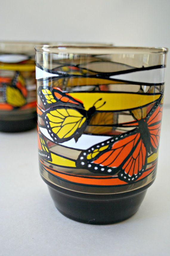 Monarch Butterfly Swanky Swigs, Set of 3, Smokey Brown Orange Yellow Drinking…
