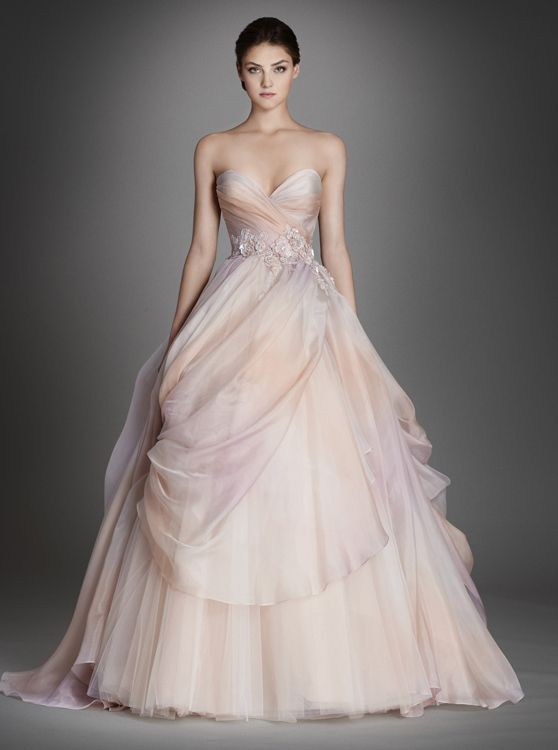 Alternate View LZ3561 Sherbet ombré silk organza bridal ball gown, strapless sweetheart neckline, pleated bodice accented with floral beaded appliques at natural waist, pick up skirt with tulle underlay, sweep train.