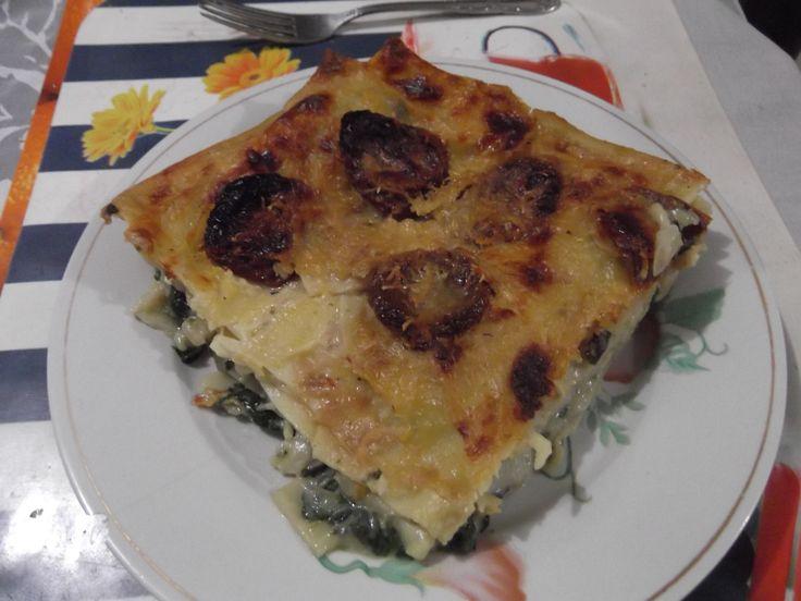 Tomato & spinach lasagna.