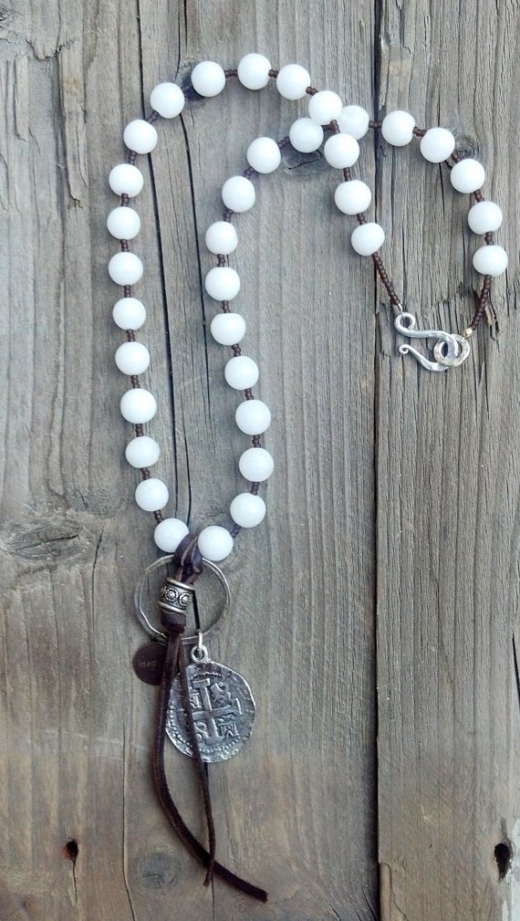 One of a Kind Large White Agate beaded necklace by DeetabyDesign, $60.00