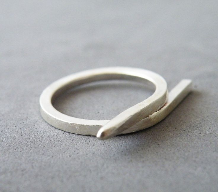 Minimalist Sterling Silver Ring Geometric Ring Modern Silver Jewelry by SteamyLab