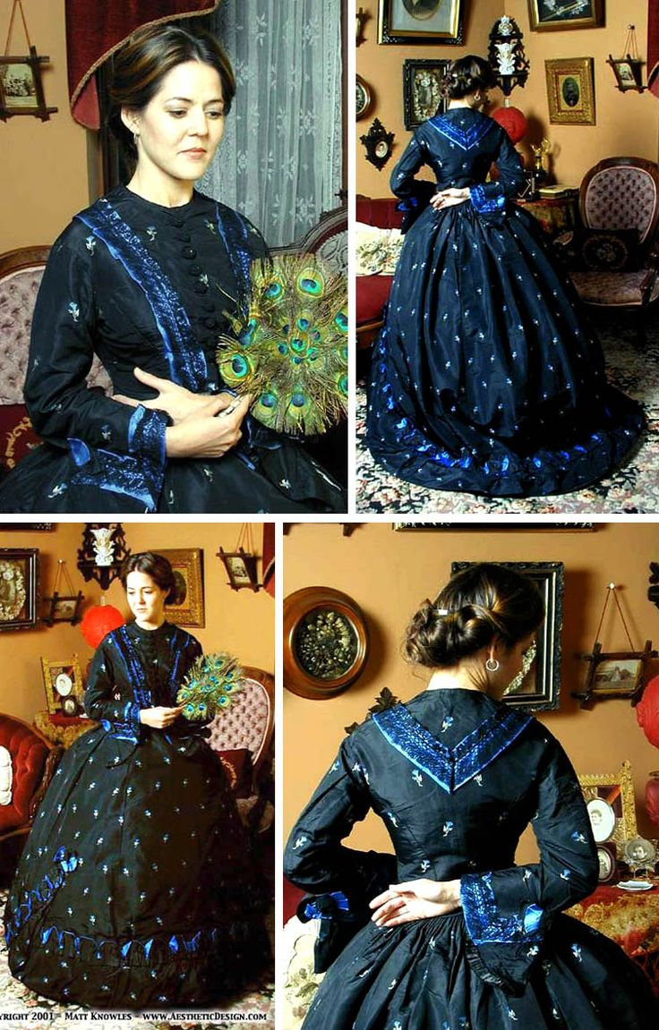 Day dress ca. 1860s. Black silk with silver and blue embroidery. Trimmed with blue silk and black lace. Lori Knowles (private collection)