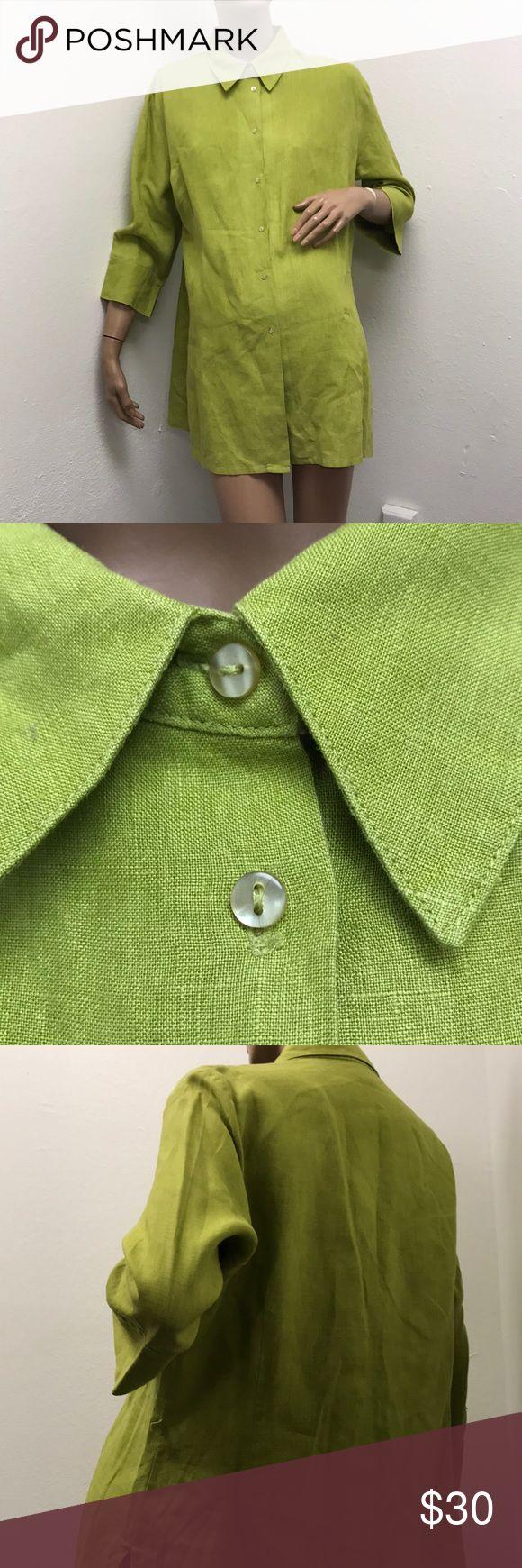 """Camaieu linen green tunic top    Euro 46 Camaieu linen green tunic top    Euro 46 measures shoulders 18"""", bust 46"""", length 30"""" Camaieu Tops Tunics"""