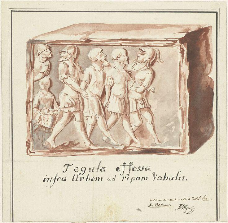 Hendrik van Wijn   Rode tegel met afbeelding van gevangenneming van Bataven door Romeinen, gevonden in de Waal beneden Nijmegen, Hendrik van Wijn, 1800 - 1805   Rode tegel met afbeelding van gevangenneming van Bataven door Romeinen, gevonden in de Waal beneden Nijmegen. Ontwerp voor een prent.