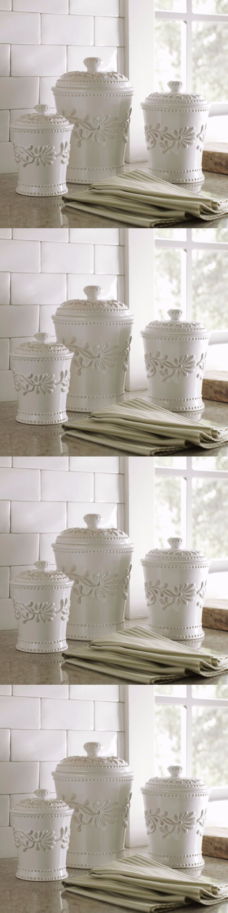 Canisters and Jars 20654: Ceramic Kitchen Canister Set White Ivory Counter Coffee Sugar Flour Canisters 3 -> BUY IT NOW ONLY: $56.95 on eBay!