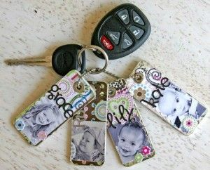 Photo Key chain party favor for the family. I made mine from counter sample chips from a hardware store, but I didn�t add paper and stickers to them since I made so many for family. Still turned out great and seem to be holding up well. Easy to do.