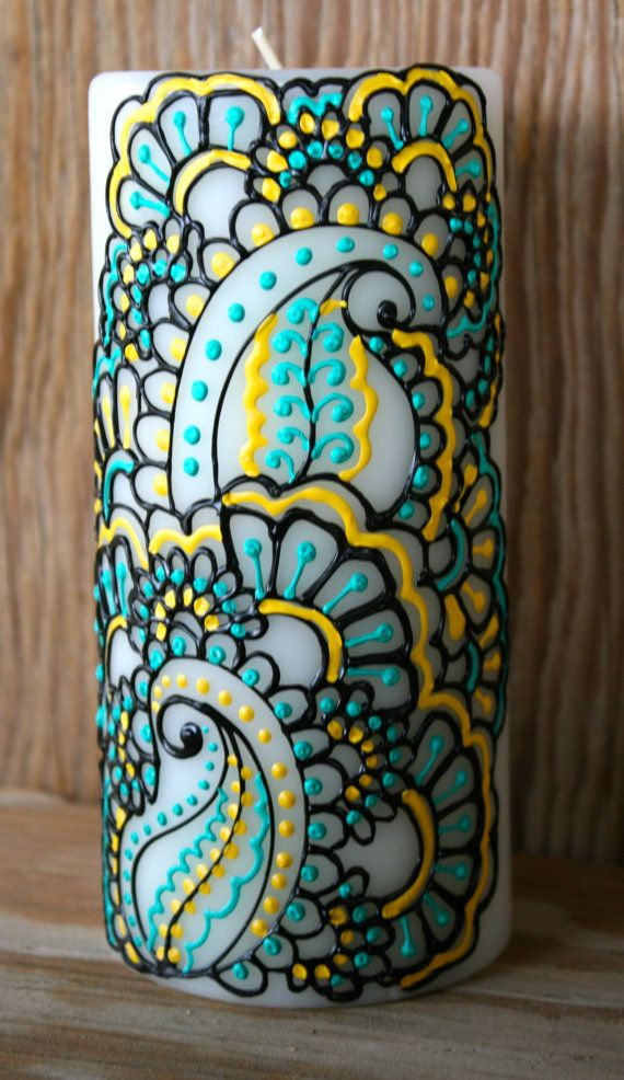 Henna Style Painted Candle, Turquoise, Sunshine Yellow, and Jet Black, Ivory Pillar Candle, Fresh Linen Scent