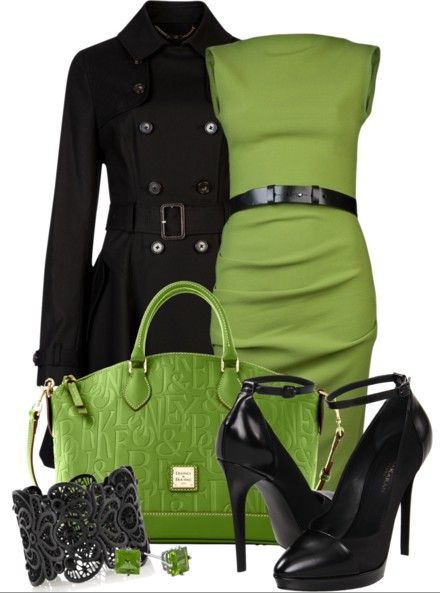 Light green hand bag high heel black shoes, jacket and cocktail dress