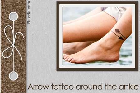 arrow tattoo around the ankle