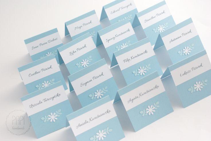 Błękitne winietki   Kartki ręcznie robione, zaproszenia ślubne handmade Poznań