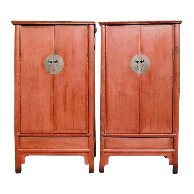 Pair Of Original Chinese Antique Cabinet Wardrobes In Cinnabar Red Lacquer,  Qing Dynasty   Chung