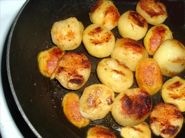 Caramelized Canned Potatoes from Food.com:   This is a great fast shortcut and the potatoes are excellent. I do this recipe to serve with roast pork, goose or chicken.