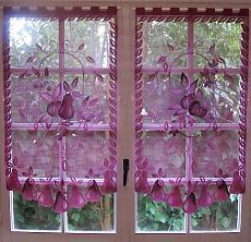 Aubergine Lace Curtains, Pair French Curtains, Purple Kitchen Curtains, French…
