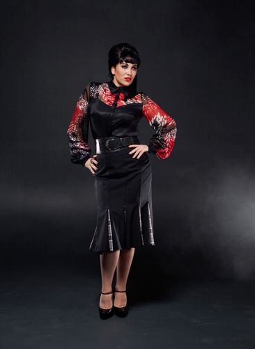 Sprinkle EmporiuForbidden Fruits Silk Blouse and Governess Panel Skirtm