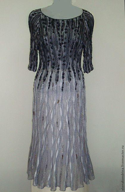 """Платье """"Позёмка.Из черного в серый"""" - серый,дизайнерская одежда,авторская техника"""