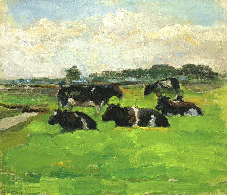 Piet Mondriaan - Polder Landscape with a Group of Five Cows - 1901