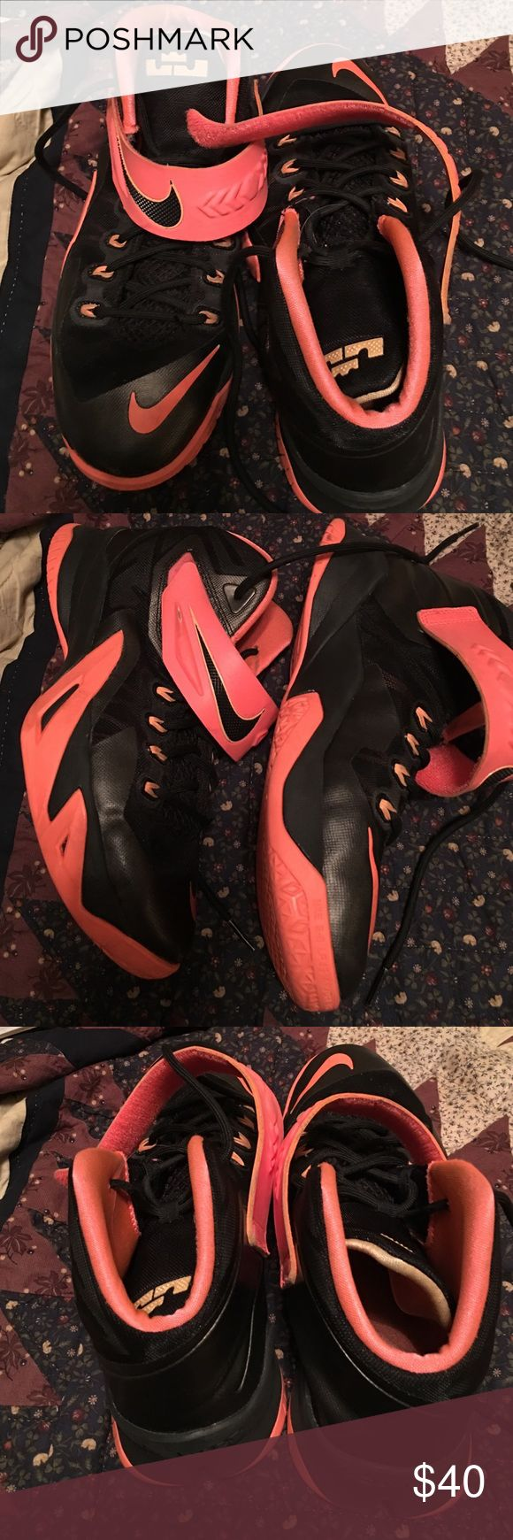 Nike LeBrons Youth Basketball Shoes LeBrons Youth Basketball Shoes Size 7. Black/orange Nike LeBrons Shoes Sneakers