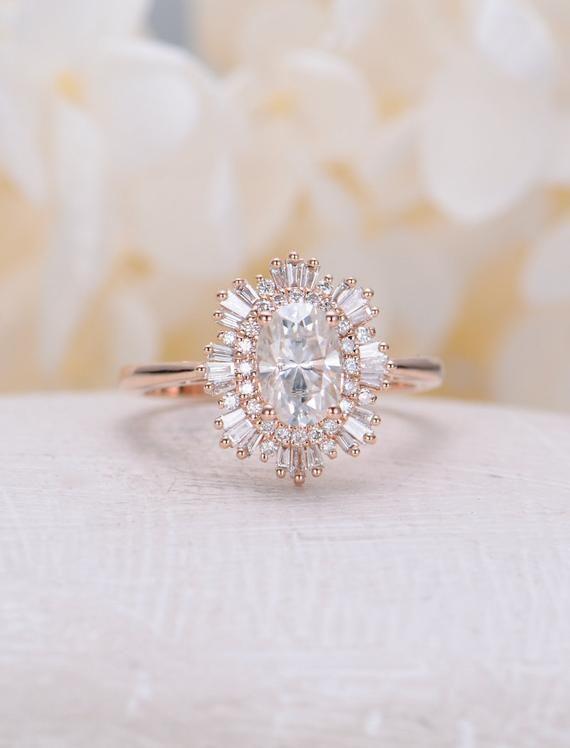 Vintage Verlobungsring Frau Rose Gold Halo Diamant Moissanite Oval Cut einzigart…