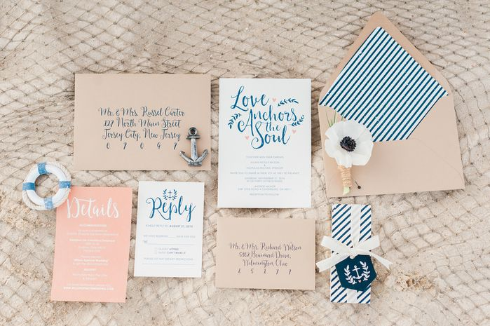 Navy, pink, white, and neutral modern and whimsical nautical wedding invitation suite idea. Navy and white stripes, modern calligraphy + nautical details {Stephanie Barnes Photography}